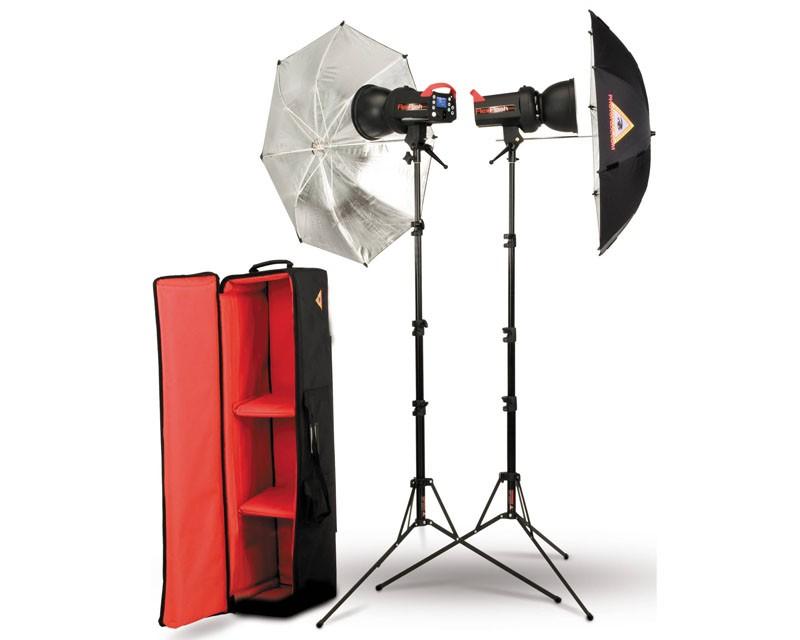 Photoflex FlexFlash 200W Monobloc Strobe 2 Head Umbrella Kit