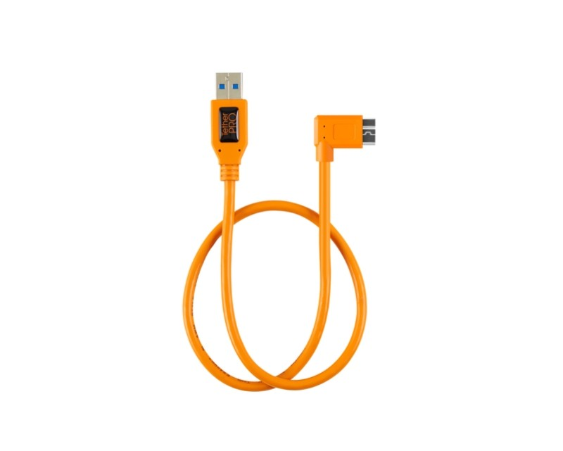 """TetherTools CU61RT02-ORG TetherPro USB 3.0 to USB 3.0 Micro-B Right Angle Adapter """"Pigtail"""" Cable, 20"""" (50cm), High-Visibilty Orange"""