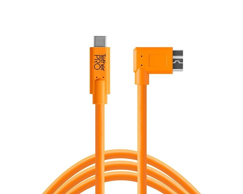 TetherTools CUC33R15-ORG TetherPro USB-C to 3.0 Micro-B Right Angle, 15' (4.6m) Orange Cable
