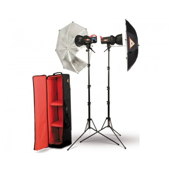 Photoflex FlexFlash 200W Monobloc Strobe 2 Head Umbrella Kit
