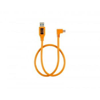 "TetherTools CU51RT02-ORG TetherPro USB 2.0 to Mini-B 5-pin Right Angle Adapter ""Pigtail"", 20"" (50cm), High-Visibilty Orange"