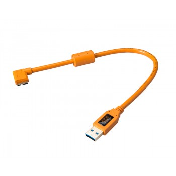 TetherTools CU61RT01-ORG TetherPro USB 3.0 SuperSpeed Micro-B Right Angle 1' (30cmm) Cable