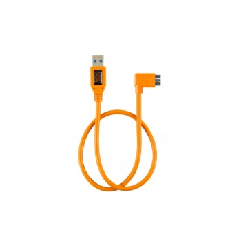 "TetherTools CU61RT02-ORG TetherPro USB 3.0 to USB 3.0 Micro-B Right Angle Adapter ""Pigtail"" Cable, 20"" (50cm), High-Visibilty Orange"