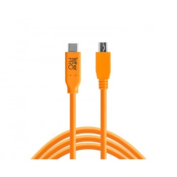 TetherTools CUC2415-ORG TetherPro USB-C to 2.0 Mini-B 5-Pin, 15' (4.6m) Orange Cable