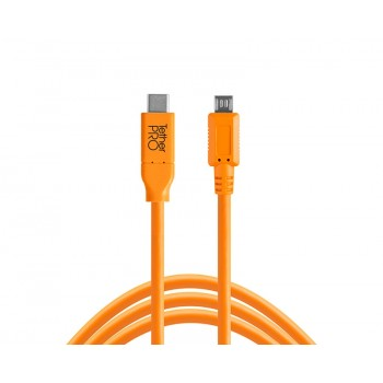 TetherTools CUC2515-ORG TetherPro USB-C to 2.0 Micro-B 5-Pin, 15' (4.6m) Orange Cable