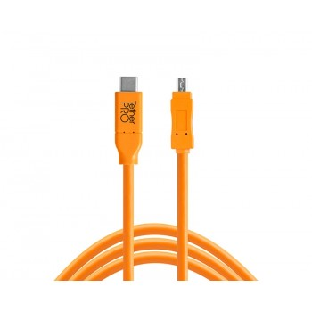 TetherTools CUC2615-ORG TetherPro USB-C to 2.0 Mini-B 8-Pin, 15' (4.6m) Orange Cable