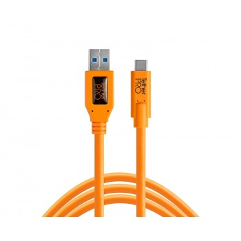 TetherTools CUC3215-ORG TetherPro USB 3.0 to USB-C, 15' (4.6m) Orange Cable