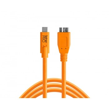 TetherTools CUC3315-ORG TetherPro USB-C to 3.0 Micro-B, 15' (4.6m) Orange Cable
