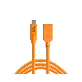 TetherTools CUCA415-ORG TetherPro USB-C to USB Female Adapter (extender), 15' (4.6m) Orange Cable