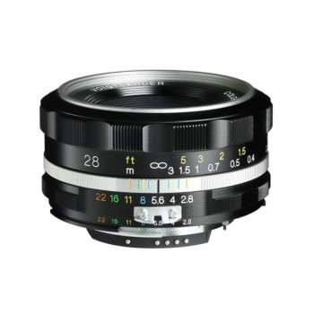 Voigtlander 28mm f2.8 Aspherical SL II-S Color-Skopar Nikon Fit Silver Lens